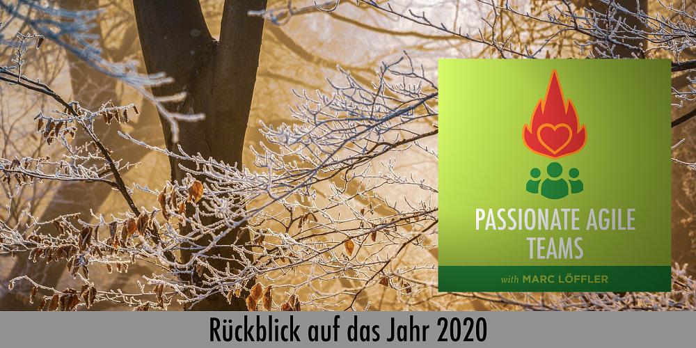 Baum im Herbst und Podcast-Titel: Rückblick auf das Jahr 2020